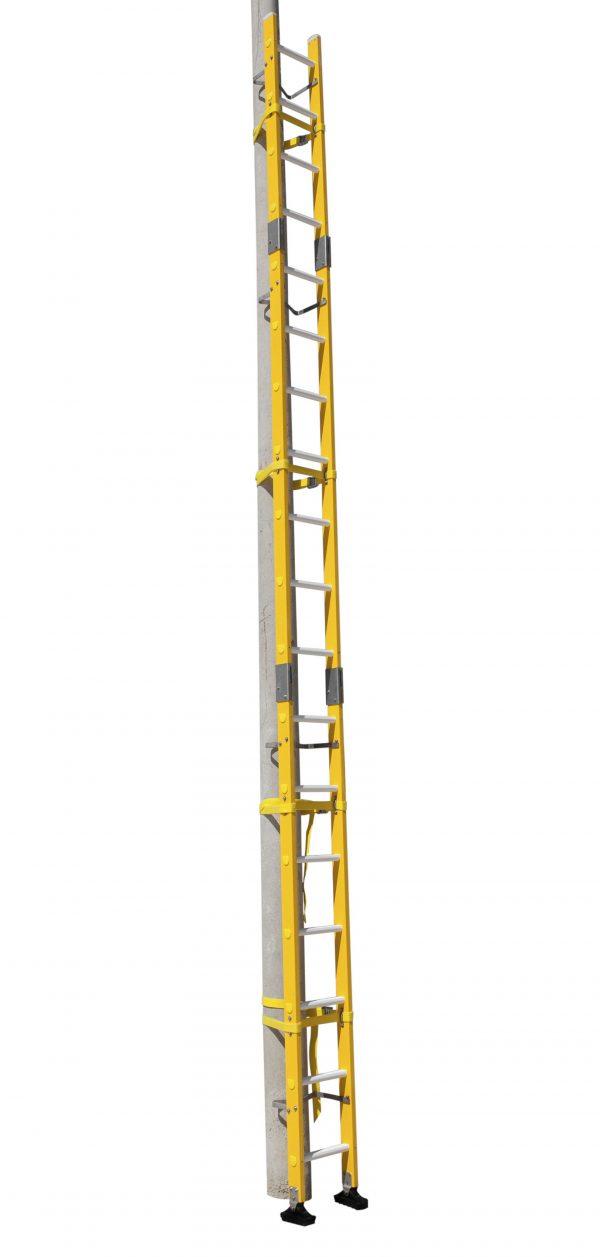 Escalera de fibra de vidrio enchufable para postes con 3 tramos