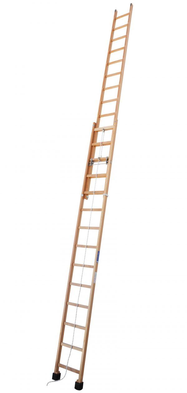 Escalera de madera extensible con sistema de cuerda y polea