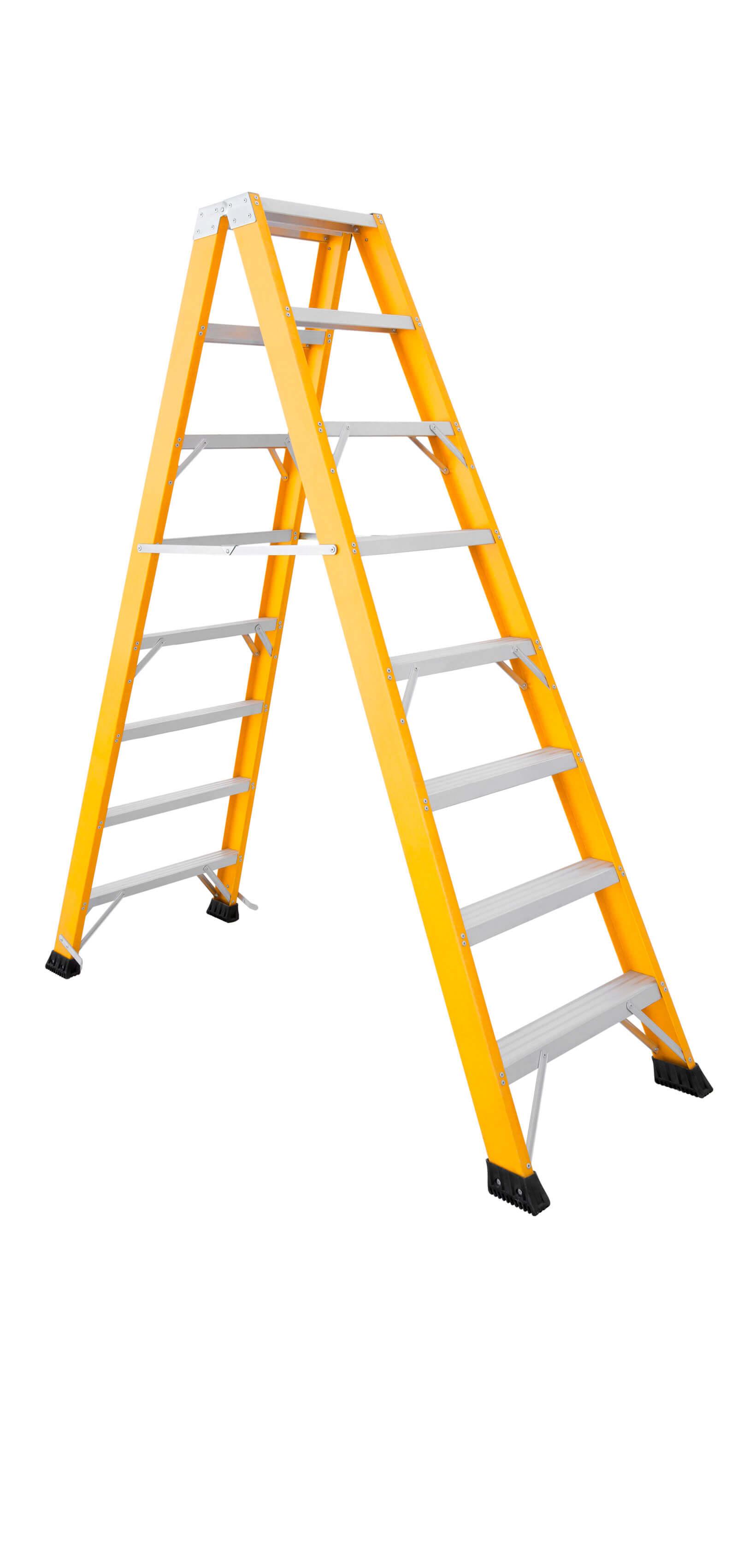 Escalera De Fibra De Doble Subida Con Peldaño Ancho De Aluminio