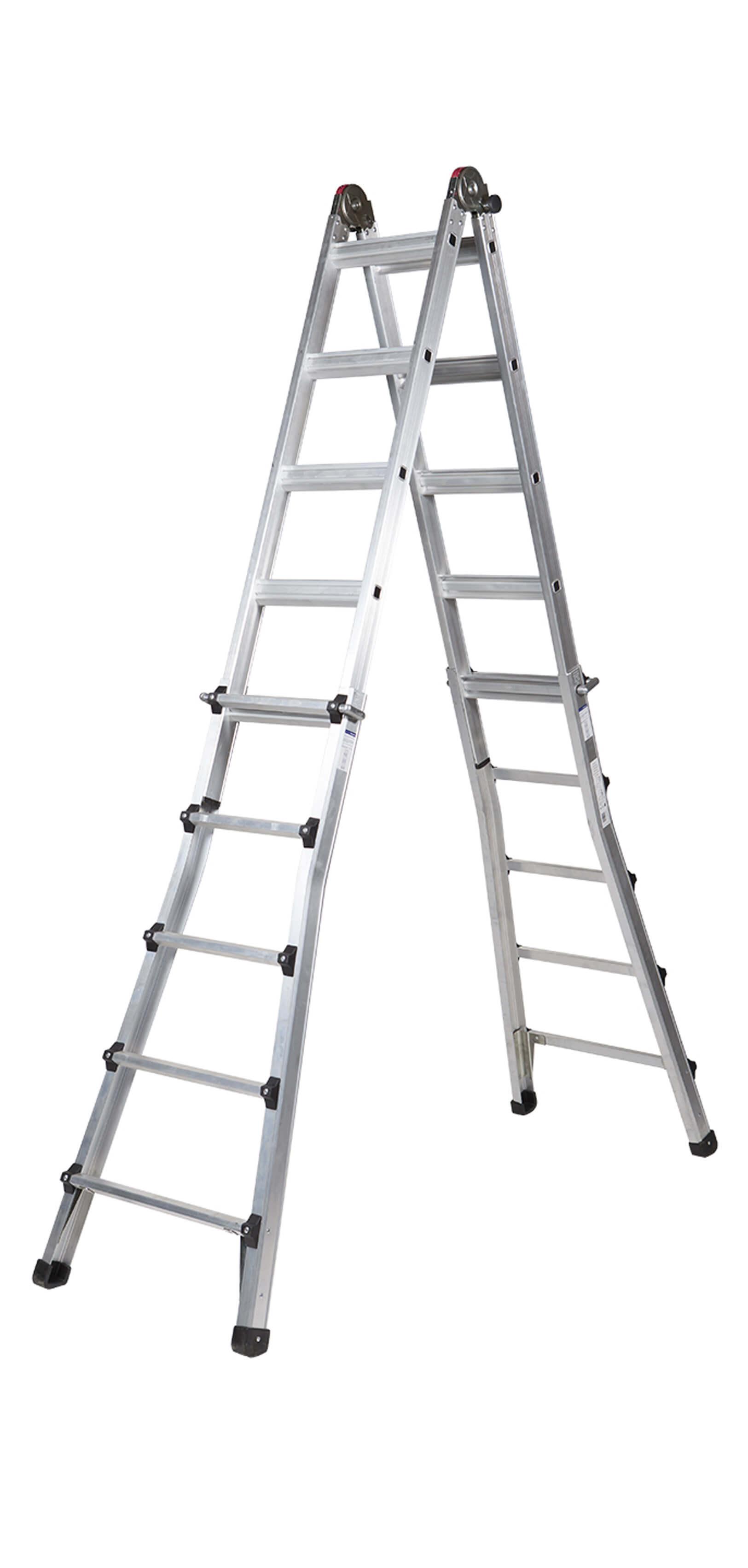 Escalera De Aluminio Telescópica De Tijera Y Apoyo