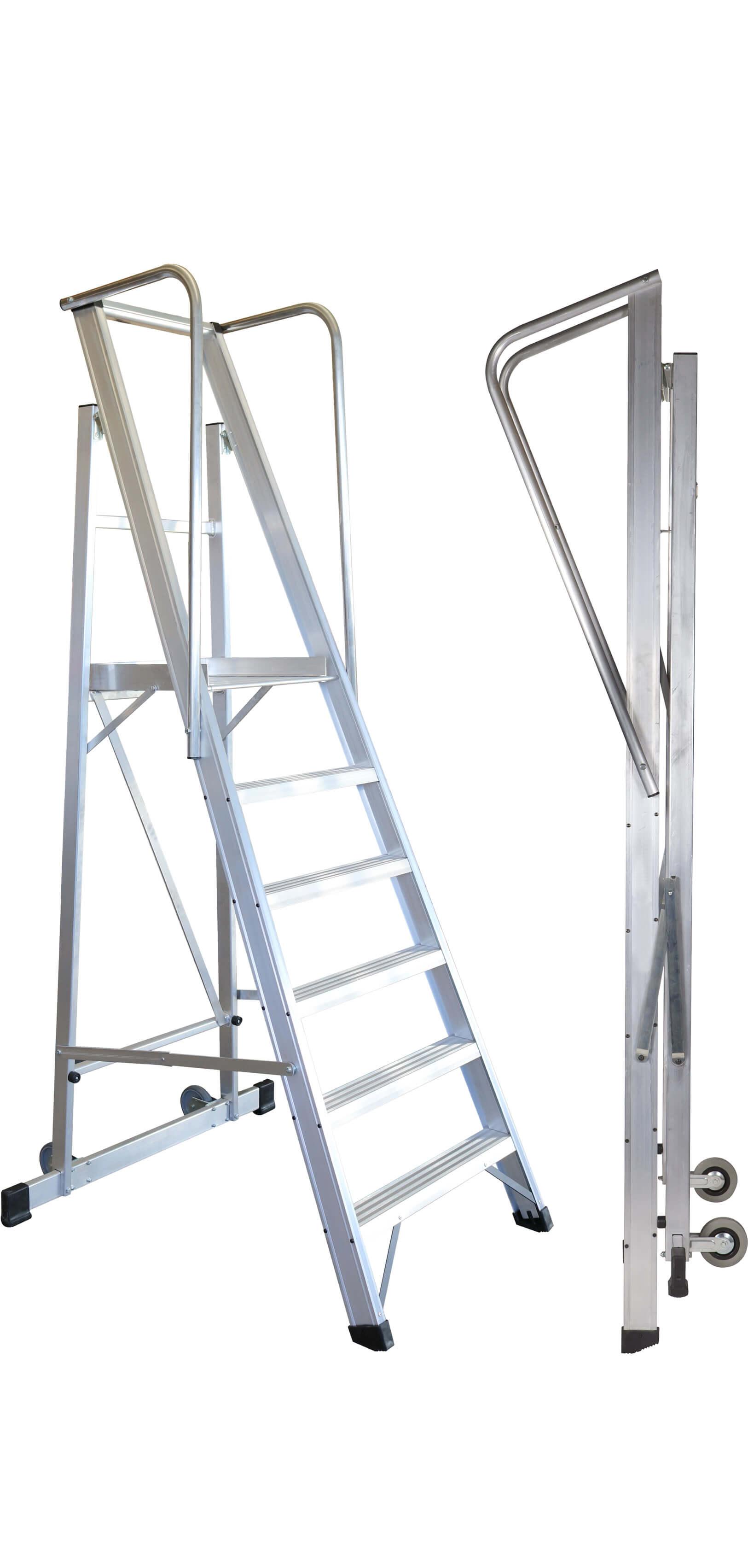 Escalera De Almacén De Aluminio Plegable