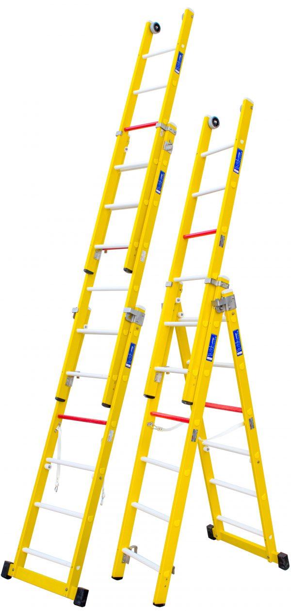 escalera transformable de tres tramos